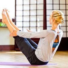Full Boat Pose. Harder than it looks, but a great exercise. Love her top!