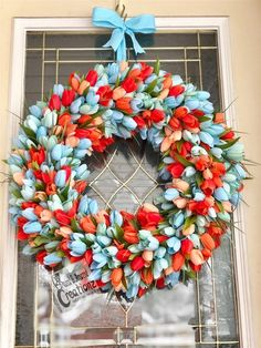 Large tulip wreath spring wreath Easter wreath blue and Easter Wreaths, Holiday Wreaths, Spring Wreaths, Wreaths For Front Door, Door Wreaths, Tulip Wreath, Floral Wreaths, Mothers Day Wreath, Purple Tulips