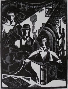 Charles Turzak- ''Worker's No. wood engraving, signed, titled and numbered in pencil, very good condition. on Oct 2011 African American Artist, African Art, Schmidt, Linocut Prints, Art Prints, Block Prints, Art Nouveau, Soviet Art, Wood Engraving