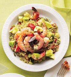 Avocado and Quinoa Salad- 514 cal puree 1/2 cup fresh cilantro, 1 clove garlic, 2 tbsp red wine vinegar, 4 tsp olive oil, 1/8 tsp salt, a pinch of chili powder and pepper until smooth. In a bowl, toss leftover quinoa with 1/2 cup halved grape tomatoes, 1/3 cup chopped cucumber and 1 tbsp cilantro dressing. Top salad with leftover cooked shrimp, 1/8 avocado, diced, and 1 tbsp cilantro dressing (refrigerate remainder for Friday's dinner).