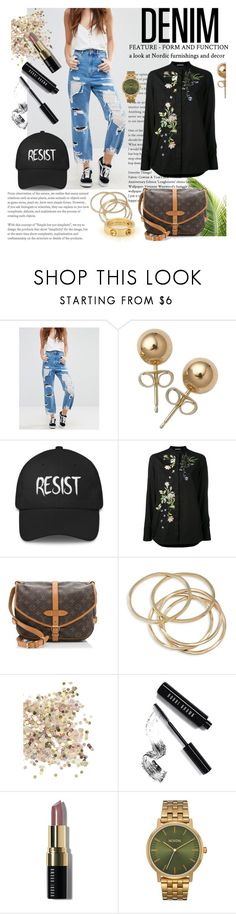 """""""【Distressed Denim】"""" by horus-kn ❤ liked on Polyvore featuring ASOS, Bling Jewelry, Alexander McQueen, Louis Vuitton, ABS by Allen Schwartz, Topshop, Bobbi Brown Cosmetics, Nixon, denim and BobbiBrown"""