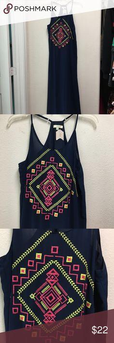 Racerback maxi dress size M Beautiful navy blue and Aztec embroidery neckline print. Size M Dresses Maxi