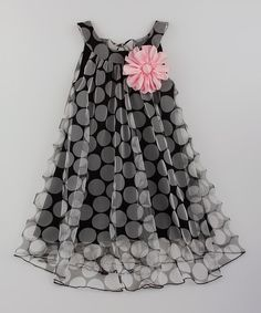 Look at this Mia Belle Baby Black Pink Flower Swing Dress - Toddler Girls on - Kids Fashion Frocks For Girls, Toddler Girl Dresses, Little Girl Dresses, Girls Dresses, Toddler Girls, Party Dresses, Toddler Hair, Toddler Outfits, Girls Frock Design