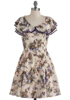 Flower Fair City Dress - Mid-length, Cream, Multi, Floral, Buttons, Pockets, Party, A-line, Cap Sleeves, Spring
