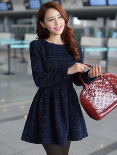 To find out about the Navy Long Sleeve Plaid Pleated Tweed Dress at SHEIN, part of our latest Dresses ready to shop online today! Preppy Mode, Preppy Style, Tweed Dress, Navy Dress, Mode Outfits, Casual Outfits, Moda Formal, Vestido Casual, Zooey Deschanel