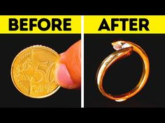 Timestamps: - gold diamond ring from a coin - gold diamond ring from a nut - ring hacks ----------------------------------------------. Ring Crafts, Gold Diamond Rings, 5 Minute Crafts, Diy Jewelry, Crafts For Kids, Girly, Hacks, Make It Yourself, Youtube