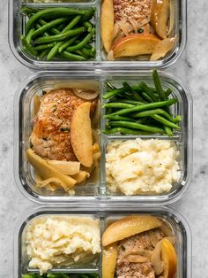 This Apple Spice Pork Chop meal prep is packed with tender and juicy pork chops, creamy mashed potatoes, and bright green beans.