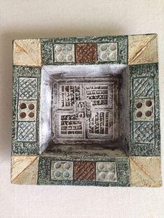 Square Troika Pottery Plate, Cornish Pottery.