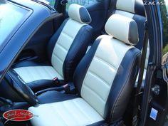 Design der Sitzbezüge: Design Dubai: Leder-Optik (ZACASi Lederimitat) schwarz / hellbeige - Design Kopfstütze - Tri-Color  #vw #volkswagen #golf3 #cabrio #lederimitat  vordersitze #echtleder #autositzbezüge #design #dubai