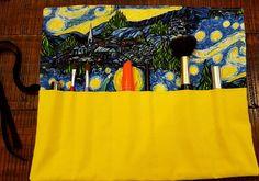 Makeup Brush Roll Travel Makeup Brush Bag by AllAmericanaCrafts