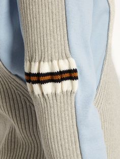 Maison Margiela Contrast-panel ribbed-knit cotton sweater- rib going into jersey