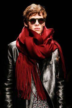Salvatore Ferragamo Fall 2015 Menswear - Details - Gallery - Style.com huge scarf leather jacket...inspiration from menswear