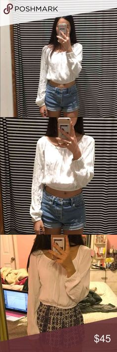 Brandy Melville flowy top Brand new. Only wore it in the pic to model. It's cuter off the shoulder but in my pics I didn't wear it like that. Lmk if you have mercari 💖🙂 $45 or best offer Brandy Melville Tops Blouses