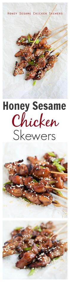 Honey Sesame Chicken Skewers - no grill, super easy pan-fried chicken skewers with a DELICIOUS honey sesame sauce | rasamalaysia.com
