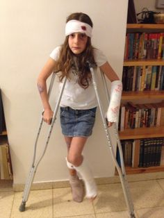 Costumed involved two diy casts (easily cut off with scissors) crutches plenty of bandages and lots of fake blood and make-believe wounds.  sc 1 st  Pinterest : halloween costumes with crutches  - Germanpascual.Com