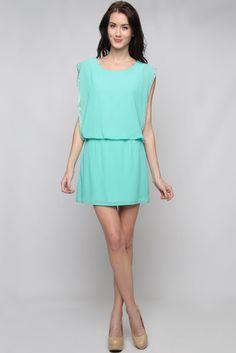 Greek Turquoise Portia Chiffon Dress