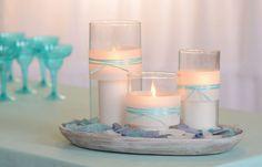 seaglass wedding centerpiece | , votive, wrap, centerpiece, candles, candle, ribbon, brides, wedding ...