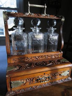Antique Carved Wood Eastlake Oak Tantalus 3 Glass Decanter Liquor Cabinet Drawer