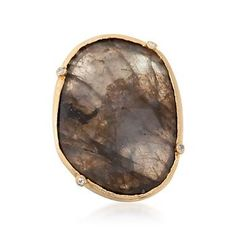 Ross-Simons - Labradorite Slice Ring With Diamonds in 18kt Gold Over Sterling - #818700