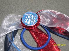 Bottle Cap 4th of July Ponytail by ang744 on Etsy, $4.00