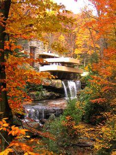 """Frank Lloyd Wright, """"Fallingwater"""", constructed 1936-39, Bear Run Creek in Mill Run, PA."""