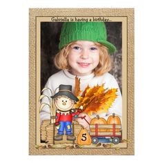 Photo Card Birthday Invitation Scarecrow Frame Photo Invitation