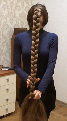 VIDEO In front of her face is part of braids - watch v loves being playful when she is modeling for us, and she loves doing funny and playful videos which re Loose Hairstyles, Braided Hairstyles, Pigtail Hairstyles, Casual Hairstyles, Wedding Hairstyles, Long Hair Play, Rapunzel Hair, Long Hair Video, Hair Cover