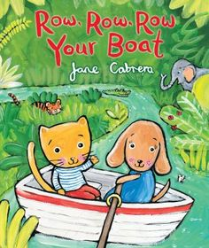 In this expansion of a familiar song, the occupants of a rowboat enjoy seeing and making the sounds of different jungle animals.
