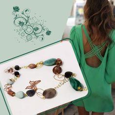 #Collana Lunga in Argento Color Oro, Pietra di Luna, Agata Grigia, Amazzonite, Ciondolo Agata Verde Grande, Farfalla