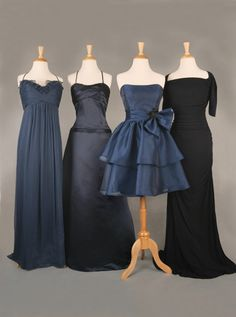 """Bridesmaids and Maid of Honor perhaps?? Amsale French blue silk chiffon gown at Wedding Belles; WTOOE by Watters + Watters """"indigo"""" Duchess satin gown at Ballin's LTD; Noir by Lazaro navy organza dress with sheer organza overlay at Pearl's Place; Badgley Mischka matte jersey gown in ink blue at Chatta Box Boutique."""