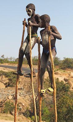 ۞ ۩  **Boys on Stilts, Jinka, Ethiopia