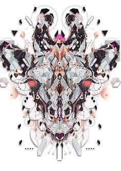 Colorful, Geometry-Inspired Digital Illustrations Of Animals by Yo Az