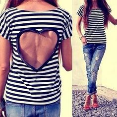 White Striped Back Heart Cut Out Casual Short Sleeve T-Shirt - T-Shirts - Tops