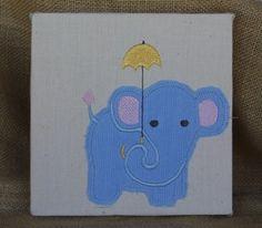 Baby Cord Elephant with Umbrella Embroidered Art  #elephant #art #corduroy #home decor #children art