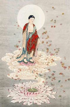 Amitabha Buddha - The Buddha of After Life (He elevates the spirits of the death to his Western Pure Land where he manages with two Boddhisatva assistants) Lotus Painting, Buddha Painting, Thangka Painting, Amitabha Buddha, Gautama Buddha, Chinese Buddha, Chinese Art, Budha Art, Buddha Lotus