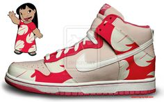 Custom Nike Dunks: Lilos by kaycunana on DeviantArt Custom Made Shoes, Custom Sneakers, Sneakers Nike, Custom Basketball, Basketball Shoes, Cool Nikes, Nike Kicks, Disney Shoes, High Shoes