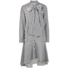 Osman tied collar striped dress ($466) ❤ liked on Polyvore featuring dresses, black, striped dress, collar dress, tie dress, osman dress and cotton stripe dress
