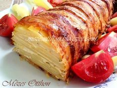 Burgonyarolád (Bacon & Potato Loaf) - Potato as a side dish for dinner. Yummy Vegetable Recipes, Healthy Recipes, Bacon Potato, Bacon Bacon, Good Food, Yummy Food, Food Fantasy, Hungarian Recipes, Hungarian Food