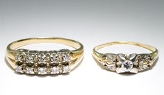 Lot 147: 14k Gold and Diamond Rings; Two rings including one with ten diamonds in two rows, the other with a central diamond flanked by eight diamond chips