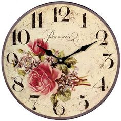 Vintage Wall Clocks | details reviews delivery vintage rose clock gorgeous wall clock ...