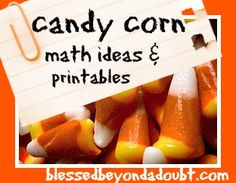 Candy Corn Math Ideas & Printables from blessedbeyondadoubt.com