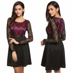 FINEJO Women Casual O-Neck Long Sleeve Lace Patchwork Dress