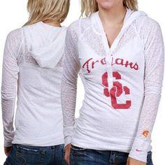 Nike USC Trojans Ladies White Push Through Burnout Premium Long Sleeve Hooded T-shirt  #UltimateTailgate #Fanatics