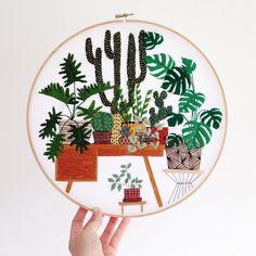 12 inch Hand Stitched Potted Garden Modern door SarahKBenning