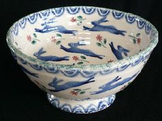Bell Pottery - Leaping hare blue bowl