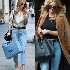 De inspiração das ruas!💫 A bela Rosie H. Whiteley em dois looks criativos com os mesmos jeans e cinto. Um mais leve, outro para frio. Adorei ambos os estilos!♥️ #creative #fashion #style #rosiehuntingtonwhiteley