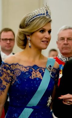 Queen Maxima of the Netherlands attends a State Banquet at Christiansborg Palace during their state visit on 17.03.2015 in Copenhagen, Denmark