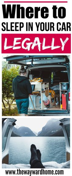 Learn where to sleep in your car legally and not get a ticket. Sleep in your car hacks for camping or van life. #vanlife #vanconversion