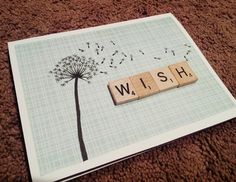 Handmade birthday card. Scrapbook paper, scrabble tiles, and drawn dandelion