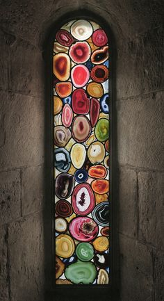 Sigmar Polke's windows for the Grossmünster church in Zurich, Switzerland were created entirely out of Agate, a rare form of quartz. Not a single piece of glass was used-